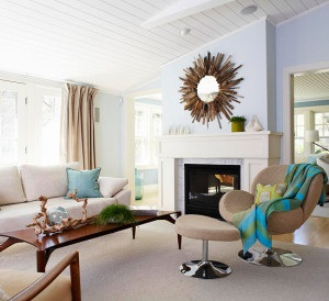 Contemporary Living Room with a Coastal Flair